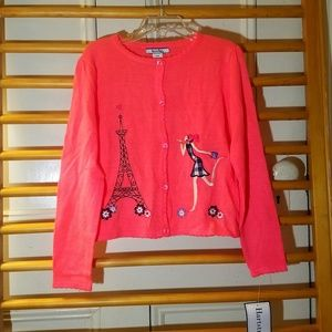 Hartstrings 5/6 Neon Coral Cardigan Sweater 3D NWT